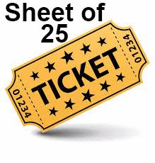 Burden Bash Sheet of 25 Tickets